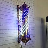 WQPOLE LED Retro Barber Pole Wasserdichte Rotierende Rot Weiß Blau Streifen Licht Wandleuchte Wand Montierbar Salon Outdoor Friseur Zeichen,Blue&White