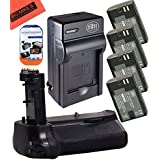 Battery Grip Kit for Canon EOS 7D Mark II Digital SLR Camera Includes Qty 4 BM Premium LP-E6 LP-E6N Batteries + Battery Charger + Replacement BG-E16 Battery Grip