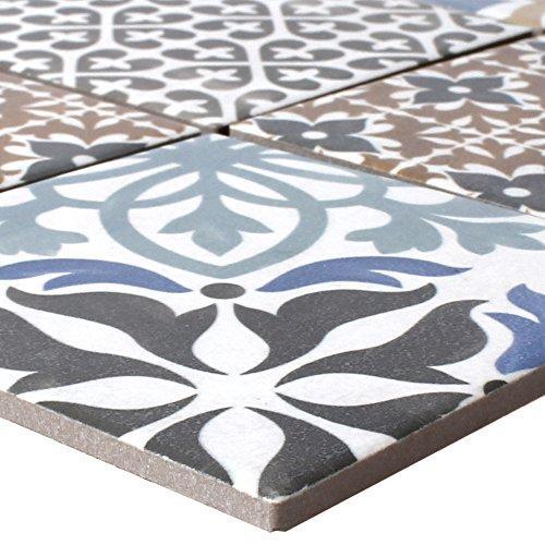 Mosaikfliesen Keramik Campeche Zementoptik | Wandverkleidung Badfliesen Bad Mosaikstein Fliesen Vintage Dekorative Fliesen Fliesenspiegel Wandgestaltung (Bunte Bodenfliesen)