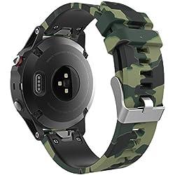MoKo Garmin Fenix 5 Banda, Silicona Reemplazo Correa con 2pzs Destornilladores para Garmin Garmin Fenix 5/5 Plus/Instinct/Approach S60 Watch, no Adapta a Fenix 5x/5s, Camuflaje de Fuerza de Tierra