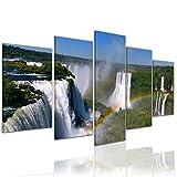 Kunstdruck - Iguazu Wasserfälle mit Regenbogen - Bild auf Leinwand - 100x50 cm 5 teilig - Leinwandbilder - Bilder als Leinwanddruck - Wandbild von Bilderdepot24 - Landschaften - Natur - Fluss Iguazu in Südamerika