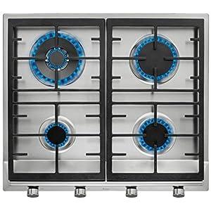 Placa de Gas natural con 4 quemadores de alta eficiencia y parrillas de fundición en 60 cm