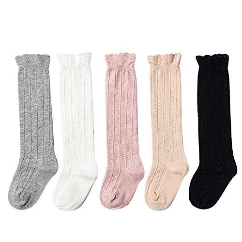 5 Paar Mädchen Knee High Socks Strümpfe , Baumwolle Babysöckchen für Baby (12-36 Monate-12cm) 12 High Socken