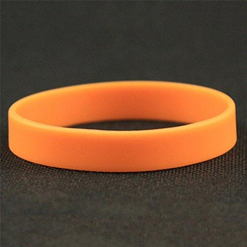 WANGLAI Farbe Silikon Gummi Armband Flexible Gummi Handgelenk Band Sports Casual Unisex-Armband Vielzahl Farben, Orange, 12 * 2cm/4.72 * 0.78