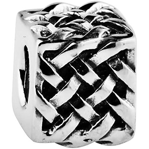 TAOTAOHAS oxidada antiguo sólido plata de ley 925/1000 charm Abalorios perlas Abalorios perla [ las olas del mar, ] Montar Pulseras Collares Europea