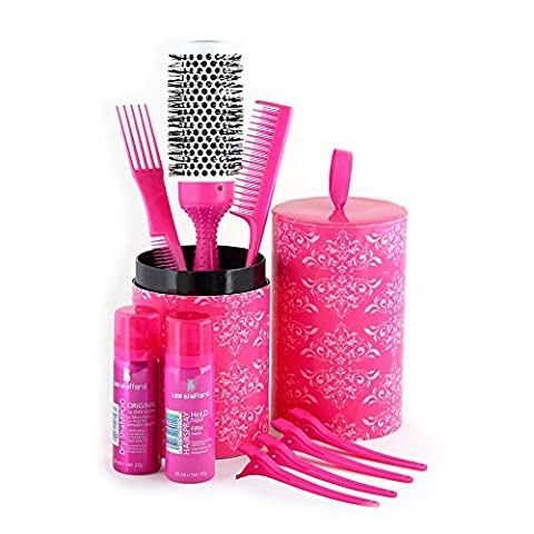Lee Stafford My BiG FAT Party HAir Brush KiT - Just What You Need to Get Ready for a Great Night Out - 9 Piece Set Includes Hair Clips, Teaser Comb, Hairspray, Shampoo, and Ceramic Styling