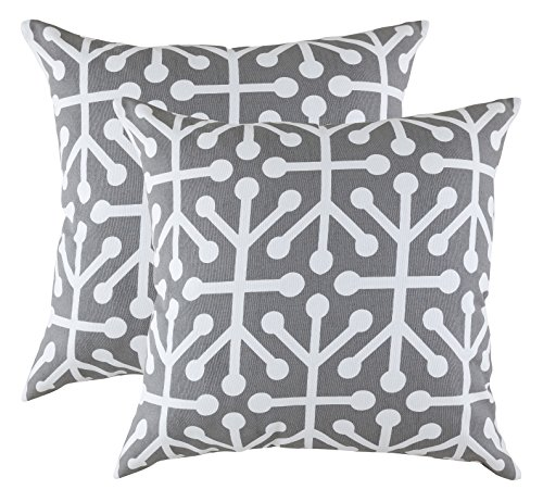 TreeWool (Pack of 2) Cotton Canvas Octaline Accent Decorative Cushion Covers (45 x 45 cm Graphite Grey \u0026 White)
