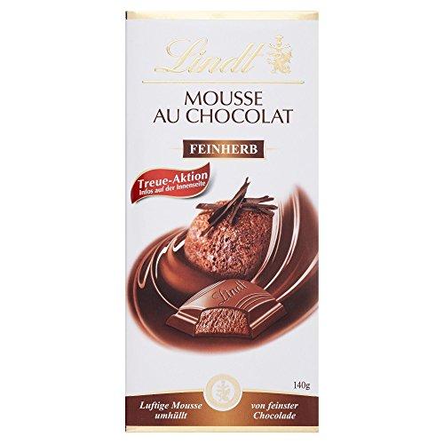 Lindt Mousse au Chocolat Tafel Feinherb, luftige feinherbe Mousse umhüllt von feinster feinherber Chocolade, glutenfrei, 140g