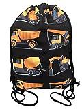 Kinder Jungen Turnbeutel | beidseitig mit 8 Baufahrzeugen bedruckt | für Kindergarten, Krippe, Reise, Sport | geeignet als Rucksack, Spieltasche, Sportbeutel, Schuhbeutel - HECKBO