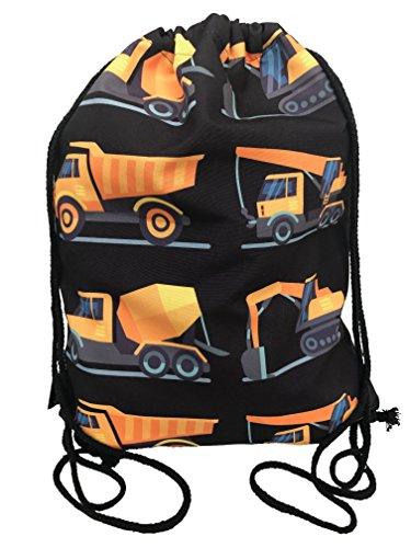 Kinder Jungen Turnbeutel | beidseitig mit 8 Baufahrzeugen bedruckt | für Kindergarten, Krippe, Reise, Sport | geeignet als Rucksack, Spieltasche, Sportbeutel, Schuhbeutel - HECKBO (Adidas Krippe)