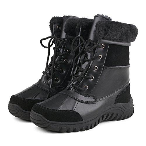 Shenduo Bottes de neige femme(Waterproof), Boots fourrées à lacets, Chaussures de ski doublure chaude Mixte adulte DA5469 Noir