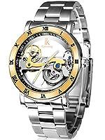 Alienwork IK Reloj Mecánico Automático Relojes Automáticos Hombre Mujer Acero inoxidable plata Analógicos Unisex Impermeable 5 ATM esqueleto de Alienwork