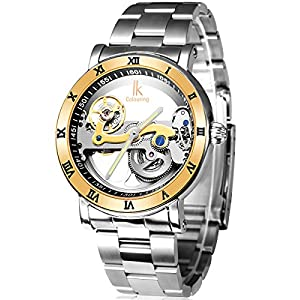 Alienwork IK Mechanical Automatic Watch Skeleton men watches Tourbilon-Style Design Stainless Steel silver 98399G-MS-IPG