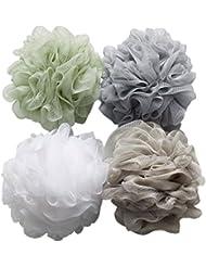 Duschschwämme / Badeschwämme, aus Luffa-Material und Netzstoff, kugelförmig, Gewicht: je 60 g, 4 Stück