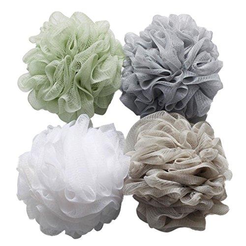 Spugna da doccia confezione da 4 (60 g al pezzo) a sfera in rete spugna da bagno e doccia