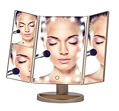 COSOON Tri-Fold Lighted Makeup Mirror with 21 LED Lights & 2X & 3X Magnifying Mirror Folding Vanity Mirror for Travel Home Bathroom, USB or Battery Powered
