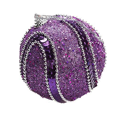 Sfere di natale con strass glitter bagattelle palle albero di natale ornamento decorazione 8cm viola pratico e popolare