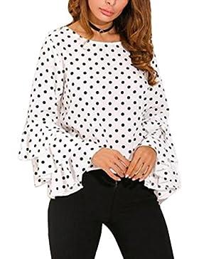 Vepodrau Mujeres Top Camiseta Manga Larga Blusas De Volantes Estampado De Lunares