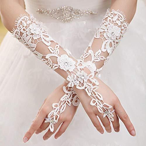 Fett Kostüm Tanz Für - Fett Mashroom Lange Spitze Brauthandschuhe Lady Formale Banketthandschuhe für die Braut Abendgesellschaft (weiß)