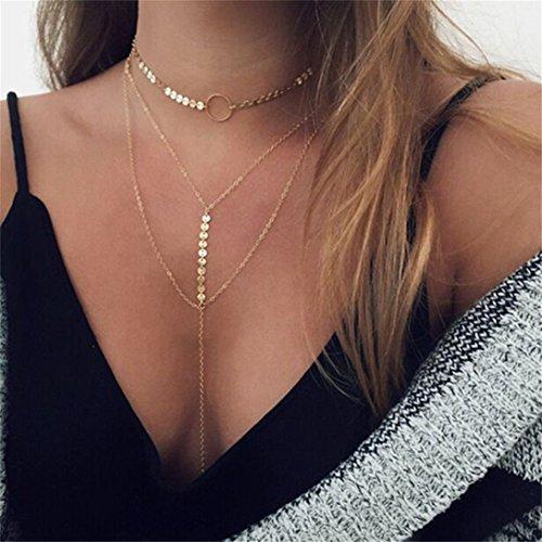 Elistelle Halskette Choker Mehrreihig Kette mit Anhänger Halsband Ketten Für Damen Gold