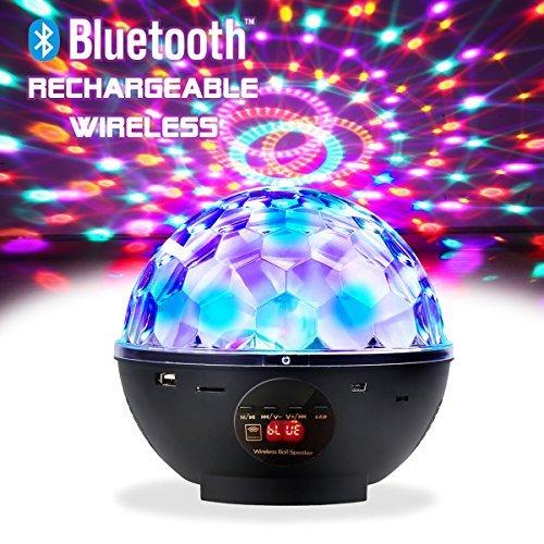 Tragbare und mobillade schwarz Bluetooth Stereo-MP3 Discokugel mit Fernbedienung plus 2 in 1 Laden Audiokabel (Werfen Thermische)