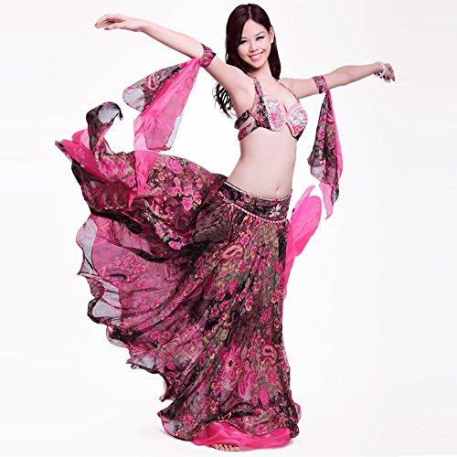 Große Größen Bauch Tanzen Kostüm - Royal Smea Bauchtanz-Kostüm für Damen, Bauchtanz-Kostüm, Strass, BH, Arm, Garn, professionelles Tänzer-Outfit, 3 Stück - Rot - Groß