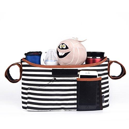 bellee Kinderwagen Organizer, Hochwertige Kinderwagentasche Buggy Tasche mit Reißverschluss, Großes Aufbewahrungsfach für Windeln, Lebensmittel, Flaschen, Spielzeug, Handy, etc., Streifen Schwarz Weiß