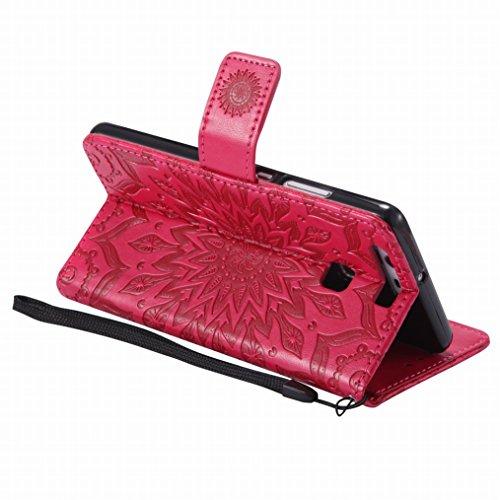 LEMORRY Huawei P9 Custodia Pelle Cuoio Flip Portafoglio Borsa Sottile Bumper Protettivo Magnetico Morbido Silicone TPU Cover Custodia per Huawei P9, Fiorire Nero Rosso