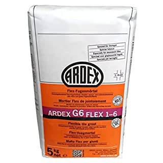 Ardex G6 Flex Grout 1-6 mm 5 kg, Colour Cement Grey for Inside and Out, Can be Worked With for Long Periods