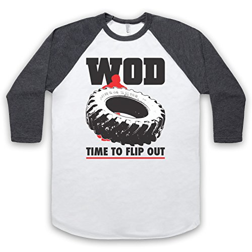 WOD Flip Out Workout Of The Day 3/4 Hulse Retro Baseball T-Shirt Weis & Dunkelgrau