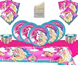 Barbie Party Supplies Kit de Vaisselle de Luxe Dreamtopia pour 16 invités - Barbie avec décorations de fête Unicorn
