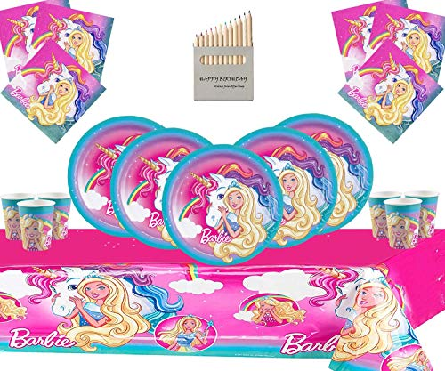 Barbie Party Supplies Dreamtopia Deluxe Geschirrset für 16 Gäste - Einweg Barbie mit Einhornparty-Deko (Barbie Party-tassen)