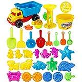 Searchyou - 31 Pezzi - Giocattoli per Sabbia e Spiaggia - Giochi Spiaggia Bambini - (Blu)