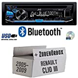 Renault Clio 3 - JVC KD-R871BT - Bluetooth CD/MP3/USB Autoradio - Einbauset