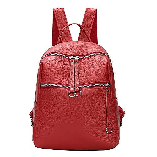 Skang Deman Rucksack Schultertasche Modisch Weichem PU-Leder Reißverschluss Lässiger Daypacks Schüler Bag Schultaschen Für Wandern Reisen(Einheitsgröße,Rot)