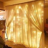 SOLMORE LED Lichterkette Vorhang Leuchtvorhang Warmweiß 3m x 3m Mit 8 Modi 300LEDs Lichtervorhang Romantisch Licht Schnur String Fairy Lights für Innen Party Hochzeit Decoration Garden warmweiß