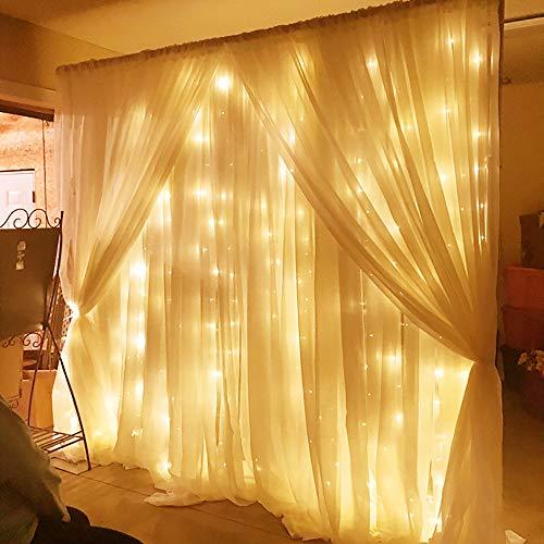 LED Lichtvorhang Warmweiß,SOLMORE 3x3m Lichtkette 8 Modi 300LEDs Romantisch Licht Schnur String Fairy Lights IP44 Wasserdicht für Party Hochzeit Home Decoration Garden Weihnachten (Kurze Gardinenstangen Für Windows)