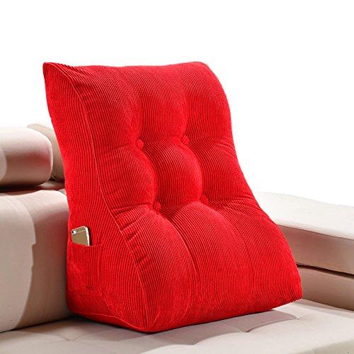 ZWL Solid Color Triangle Coussin de canapé, sac de lit doux Coussin de bureau Coussin d'oreiller Grand dossier Coussin d'oreiller lavable Protégez votre cou et votre taille, 45-55cm mode z ( Couleur : Rouge , taille : 55*30*60CM )