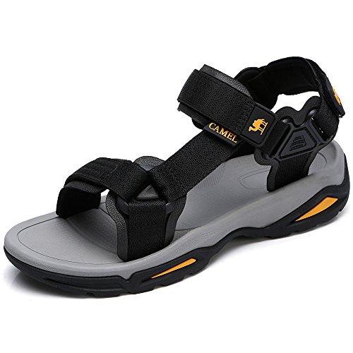 CAMEL CROWN Herren Sandalen Einstellbare Rutschfeste Offene Spitze Sommer Schuhe für Wandern Trekking Outdoor Wandern Sport Strand, Schwarz 40 EU