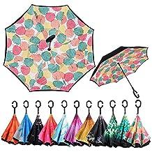 Gorgebuy Paraguas inverso - Paraguas invertidos de Doble Capa con Mango en Forma de C,