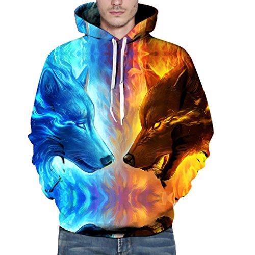 Große Größe Kapuze Pullover Herren Damen, DoraMe Männer Frauen Schädel 3D Gedruckte Lange ärmel Kapuzenpulli Unisex Hoodie Sweatshirt...
