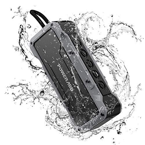 POWERADD Enceinte Bluetooth Portable 36W Waterproof IPX7 Basse Puissante de Quatre Pilotes, Musique de 24H, Recharger l'Appareil, Fonction Main Libre, Connexion BT/AUX - Gris