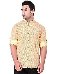 Lafantar Men's Mandarin Collar Slim Fit Casual Printed Shirt (vxt39,Yellow)