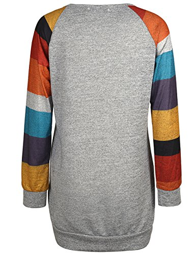 ISASSY Damen Langarm T Shirt Bluse Oberteile Tops Pullover Grau