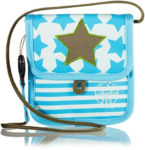LÄSSIG Brustbeutel Junge Mädchen Brusttasche Umhängetasche Geldbeutel, Kordel mit Kindersicherung / Mini Neck Pouch, Starlight olive -