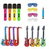ILOVECOS Aufblasbare Spielzeug Gitarre Saxophon Mikrofon Aufblasbar Musikalische Instrumente Shutter Shades Brille Gläser Party Rock Star Spielzeug Set Aufblasbare Prop 16 Stück (Zufällige Farbe)