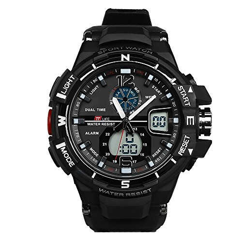 Herren Tauchen Uhren (TTLIFE TS11 Männer Sportuhren Tauchen Digital LED Militär Uhr Männer Mode Casual Elektronik Armbanduhren Herren Quarzuhr (schwarz))