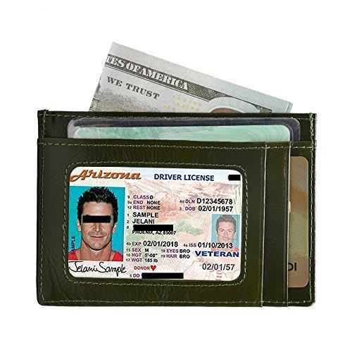 Kreditkartenetui mit RFID Schutz | Kreditkarten Etuis Leder | Slim Card Case for Women Men | Kreditkartenhüllen für Herren und Damen (Grün) -