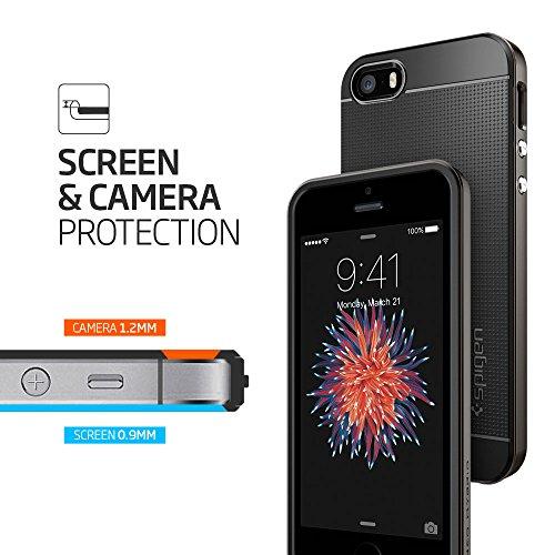 iPhone SE Hülle, Spigen® iPhone 5S/5/SE Hülle [Neo Hybrid] Doppelschichter Schutz [Gunmetal] 2-teilige Premium Handyhülle Schwarz Silikon TPU Schale + PC Farbenrahmen Dual Layer Schutzhülle für Apple  Einfarbig