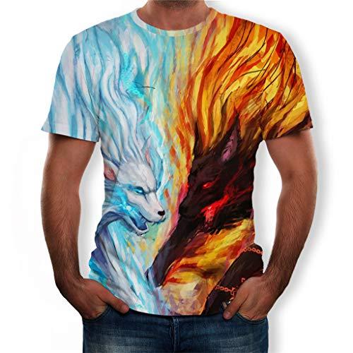 Herren Sommer T-Shirt Rundhals Kurzarm,Farben Und Gemusterte Spleißen Jungen Sommerhemd Polohemd Bluse Männer Casual Sportshirt Eis-Wolf Und Feuer-Wolf 3D Druck(L,Blau) -
